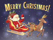 圣诞老人的雪橇和驯鹿 免版税图库摄影