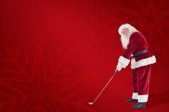 圣诞老人的综合图象打高尔夫球 免版税库存图片