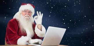 圣诞老人的综合图象满意关于什么他发现了 库存照片