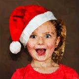 圣诞老人盖帽例证的惊奇的女孩 免版税库存图片