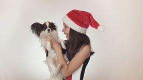 圣诞老人盖帽和狗大陆玩具西班牙猎狗的Papillon唬弄美丽的青少年的女孩快乐亲吻和  免版税库存照片