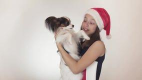 圣诞老人盖帽和狗大陆玩具西班牙猎狗的Papillon唬弄美丽的青少年的女孩快乐亲吻和  影视素材