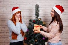 圣诞老人盖帽的两个年轻美丽的朋友有在chr的一个礼物盒的 库存照片