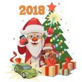 圣诞老人礼物汽车在该年狗2018年 免版税库存图片