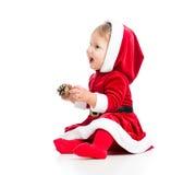 圣诞老人空白背景的女婴 库存图片