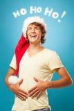 年轻圣诞老人笑 图库摄影