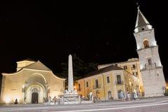 圣诞老人索非亚和它的钟楼教会在8月夜  免版税库存照片
