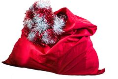 圣诞老人红色袋子,隔绝在白色背景 库存照片