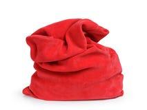 圣诞老人红色袋子,隔绝在白色 免版税库存图片