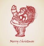 圣诞老人草图,圣诞节设计要素 库存照片