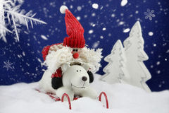 圣诞老人获得乐趣在雪 免版税图库摄影