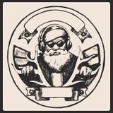 圣诞老人葡萄酒海报 向量 图库摄影