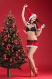 圣诞老人衣裳的妇女在圣诞树附近的 免版税库存图片