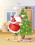 圣诞老人装饰冷杉 免版税图库摄影