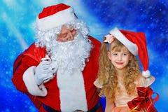 圣诞老人谈话 库存图片