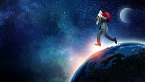 圣诞老人赶紧  混合画法 免版税库存图片
