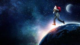圣诞老人赶紧  混合画法 库存照片