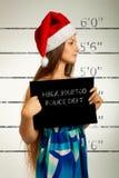 圣诞老人辅助工面部照片  免版税库存图片