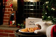 圣诞老人选择曲奇饼 免版税库存图片