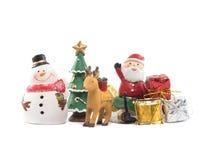 圣诞老人雪人驯鹿庆祝 库存图片