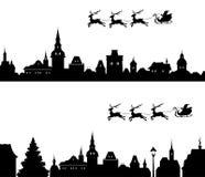 圣诞老人雪橇剪影 免版税库存图片