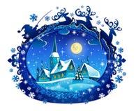 圣诞老人雪橇剪影 库存照片