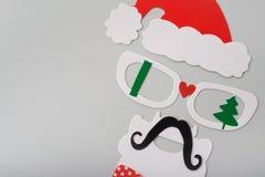 圣诞老人面具有照片摊的 免版税库存图片