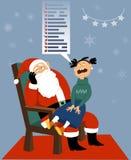 圣诞老人项目和一个贪婪的孩子 皇族释放例证