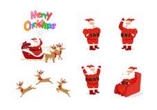圣诞老人项目和驯鹿,卡通人物动画,姿势 皇族释放例证