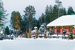 圣诞老人项目村庄拉普兰斯堪的那维亚晚上 库存图片