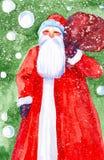 圣诞老人项目的水彩例证与袋子的在圣诞树和落的雪的背景的礼物 库存图片