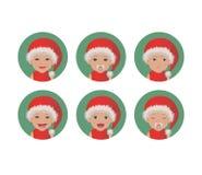 圣诞老人项目面对表示的设置可爱宝贝 圣诞老人的红色帽子具体化的圣诞节快乐孩子 向量例证