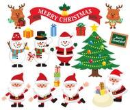 圣诞老人项目,驯鹿,雪人,逗人喜爱的字符集 皇族释放例证