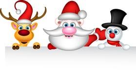 圣诞老人驯鹿和雪人与空白的标志 免版税库存图片