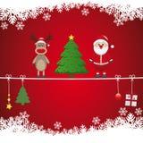 圣诞老人驯鹿结构树麻线雪背景 图库摄影
