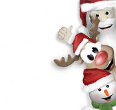 圣诞老人驯鹿雪人 免版税库存照片