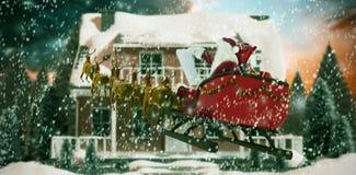 圣诞老人骑马的综合图象在雪撬的在圣诞节期间 皇族释放例证