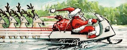圣诞老人骑马雪上电车 免版税库存照片