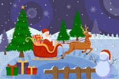 圣诞老人骑马雪橇由在圣诞快乐的驯鹿拉扯了 库存照片