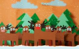 圣诞老人鹿在森林里 免版税库存图片