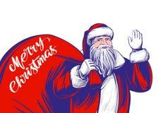 圣诞老人,圣诞节标志手拉的传染媒介例证剪影 库存例证