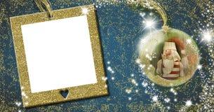 圣诞老人,圣诞节框架贺卡 免版税库存图片