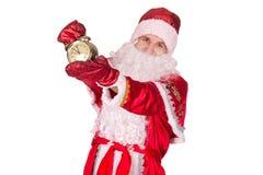 圣诞老人,圣诞节,时钟 免版税库存照片