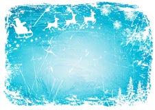 圣诞老人,在冬天背景蓝色样式的鹿 向量背景 库存照片