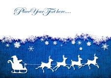 圣诞老人,驯鹿,在蓝色帆布背景的雪花  向量背景 免版税库存图片