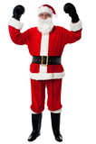 圣诞老人-拳击手,庆祝他的胜利。 免版税库存图片