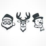 圣诞老人 雪人 鹿 免版税图库摄影