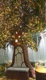 圣诞老人` s异想天开的庭院的问候地方,盖在绽放和装饰用闪烁光 免版税库存照片