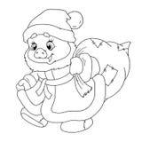 圣诞老人` s猪甜字符  与礼物的小猪 中国占星 新年好 黄道带 书五颜六色的彩图例证 图库摄影
