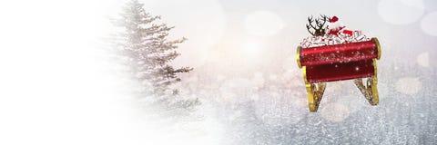 圣诞老人` s雪橇和驯鹿` s的白色冬天转折 图库摄影